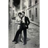 HELMUT NEWTON - Rue Aubriot, Fashion Model and Nude, Paris, 1975 - Original photolithograph