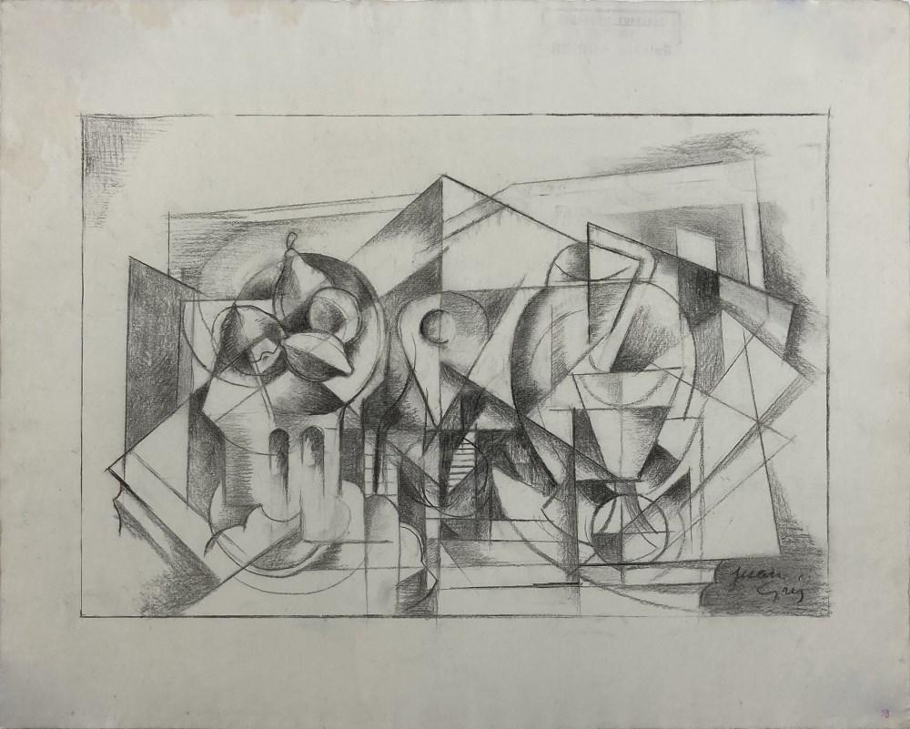 JUAN GRIS - Nature morte Cubiste - Charcoal drawing on paper