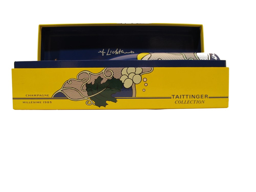 ROY LICHTENSTEIN - Taittinger Champagne Brut Bottle with box and tag - Screenprint on blue polyes... - Image 5 of 9