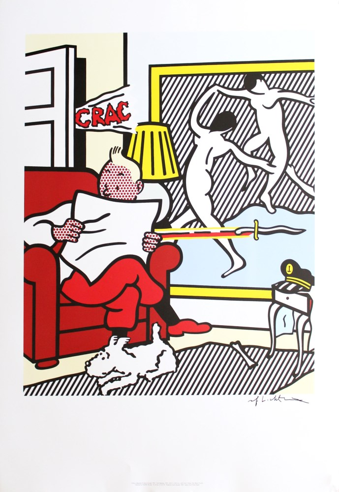 ROY LICHTENSTEIN - Tintin Reading II - Color offset lithograph