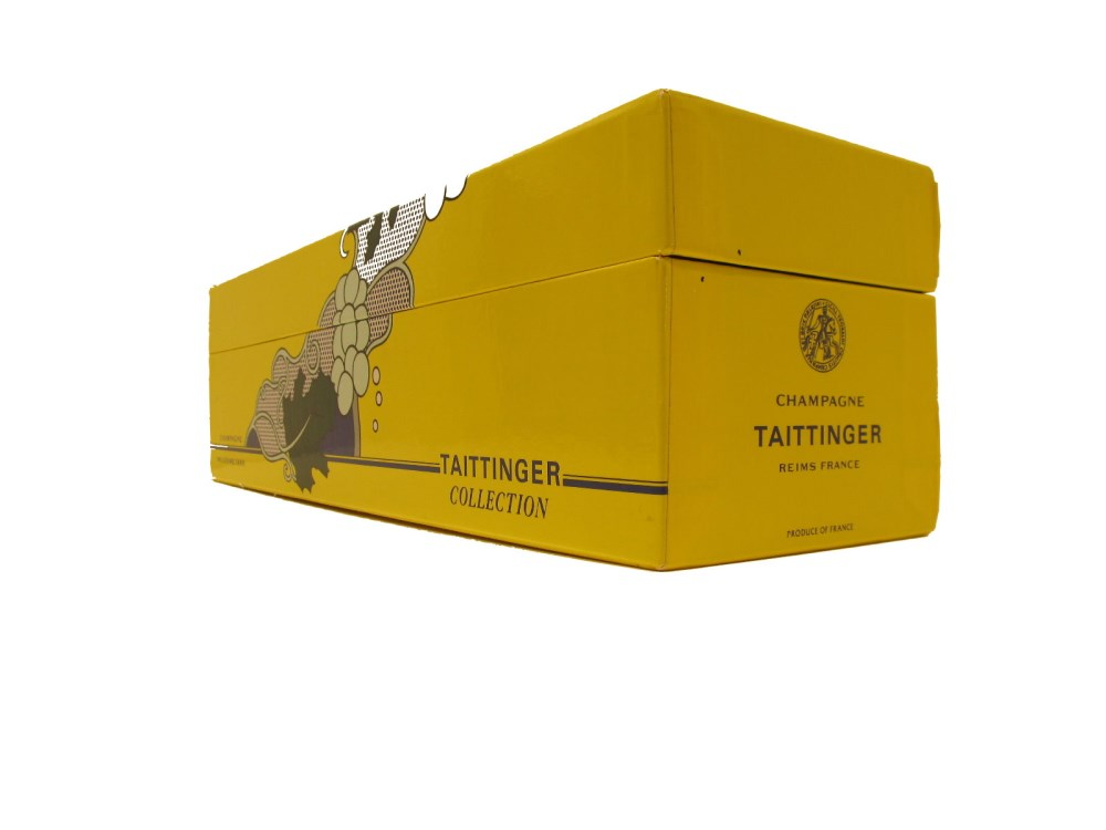 ROY LICHTENSTEIN - Taittinger Champagne Brut Bottle with box and tag - Screenprint on blue polyes... - Image 7 of 9