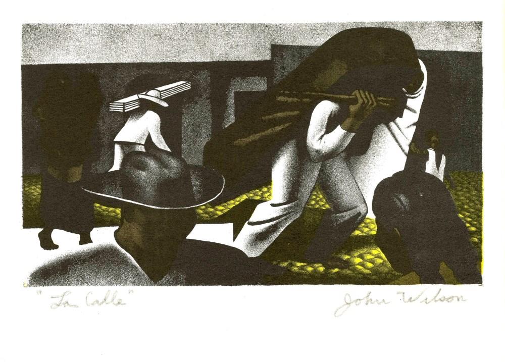 JOHN WILSON - La Calle - Original color lithograph