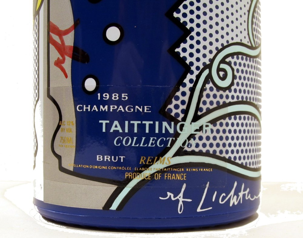 ROY LICHTENSTEIN - Taittinger Champagne Brut Bottle with box and tag - Screenprint on blue polyes... - Image 3 of 9