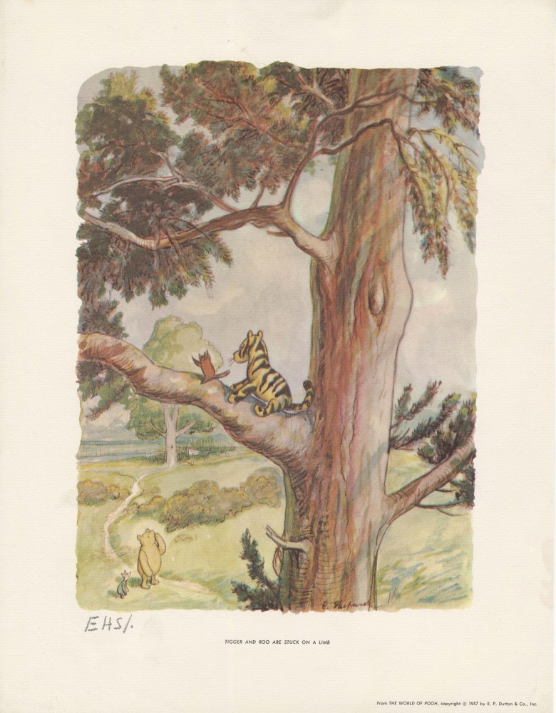 E(RNEST) H(OWARD) SHEPARD - Tigger and Roo Are Stuck on a Limb - Original color offset lithograph