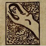 SHIKO MUNAKATA - Reclining Female Nude II - Color woodcut in brown ink