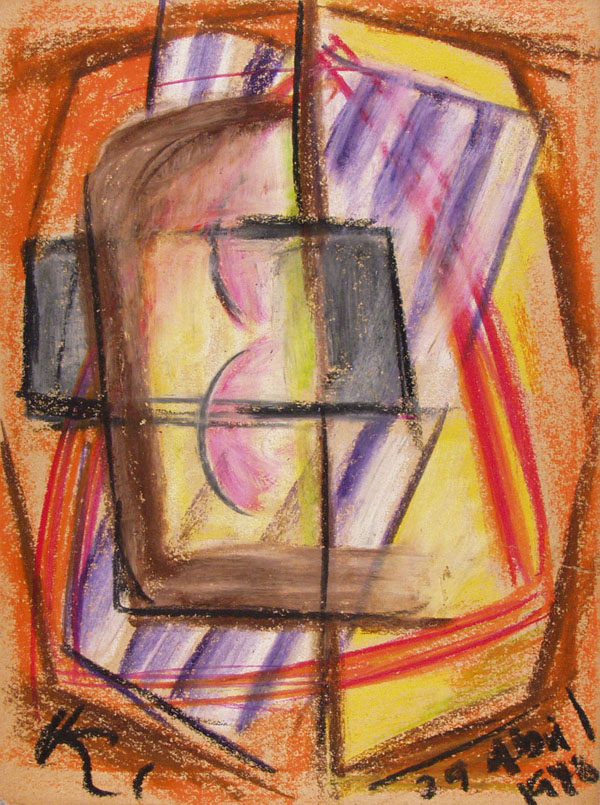 JALED MUYAES - Non-Objective Composition #23 - Gouache and crayon