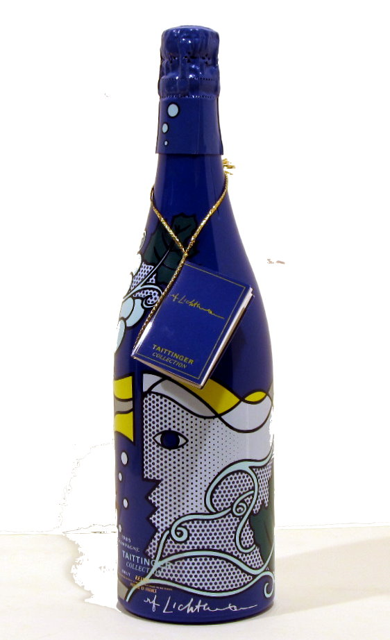 ROY LICHTENSTEIN - Taittinger Champagne Brut Bottle with box and tag - Screenprint on blue polyes...