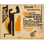 MIKHAIL LARIONOV - Grand Bal des Artistes…Travesti Transmental…1923 - Original color woodcut