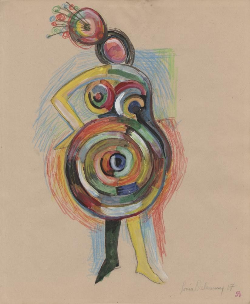 SONIA DELAUNAY - Danseuse avec un chapeau - Gouache, watercolor, and crayon drawing on paper