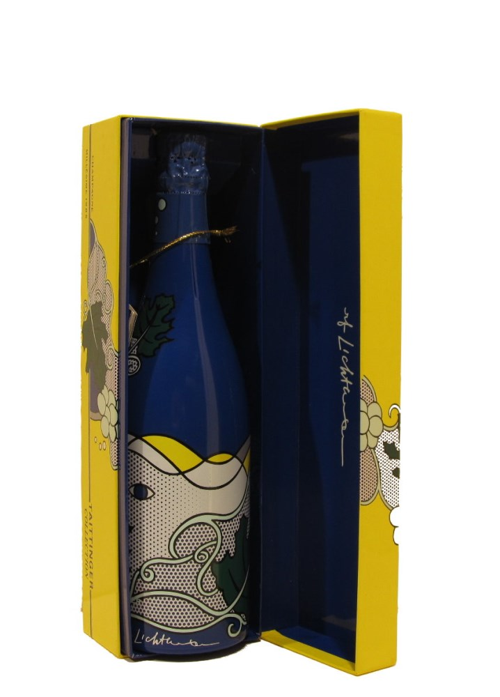 ROY LICHTENSTEIN - Taittinger Champagne Brut Bottle with box and tag - Screenprint on blue polyes... - Image 4 of 9