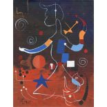 JOAN MIRO - Personnage - Oil on paper mounted on cardboard
