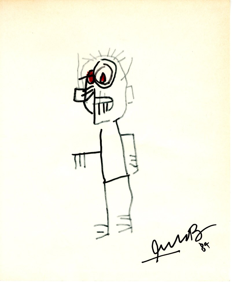 JEAN-MICHEL BASQUIAT - Portrait of Urbano Quinto - Red and black marker drawing on paper