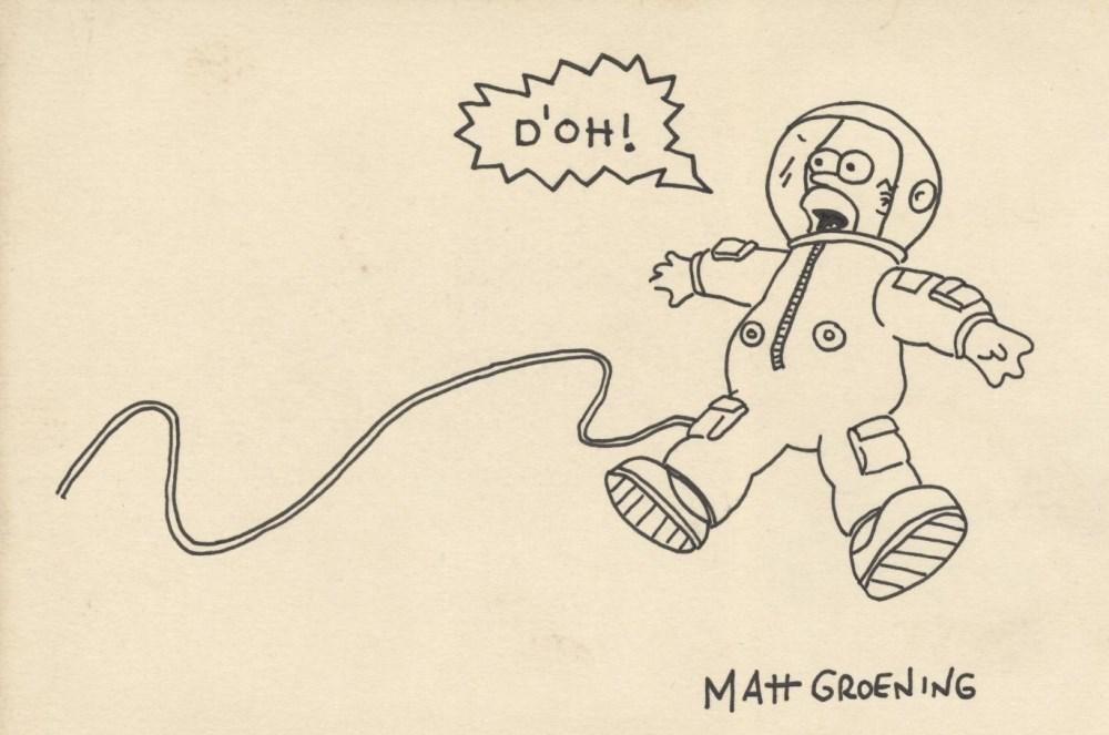 MATT GROENING - Homer Simpson in Space - Original marker drawing on paper