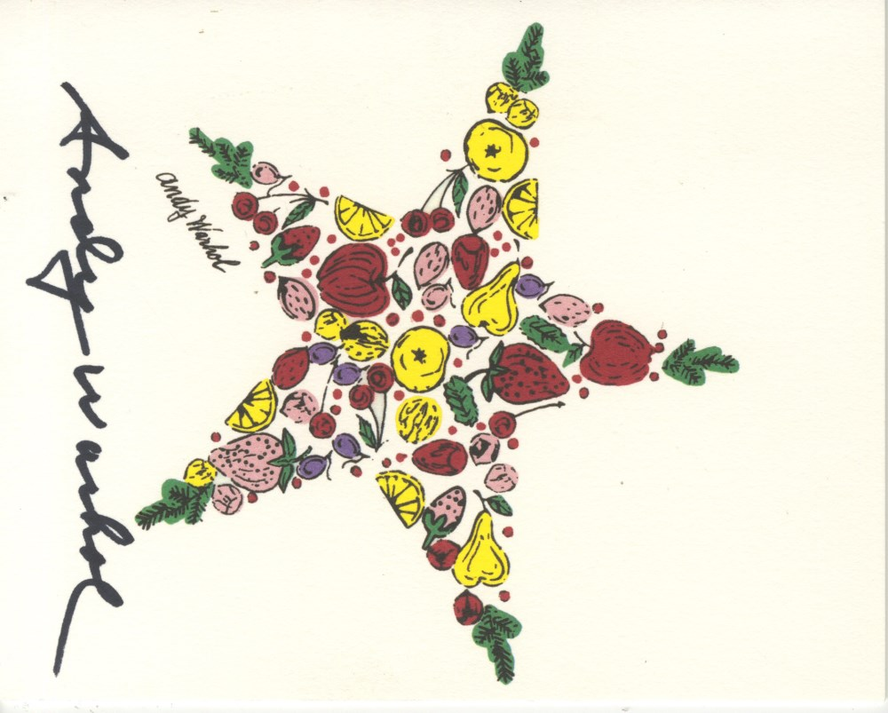 ANDY WARHOL - Christmas Card: Star of Fruit - Original vintage color offset lithograph