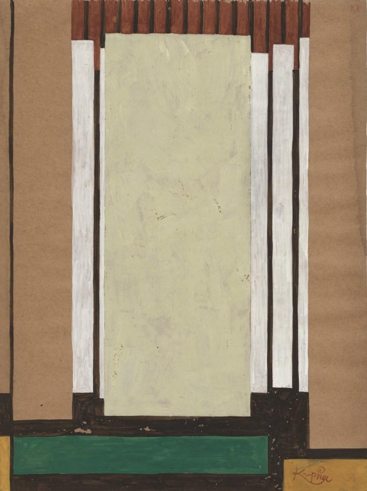 FRANTISEK KUPKA - Rectangle vert dans le noir - Gouache drawing on paper