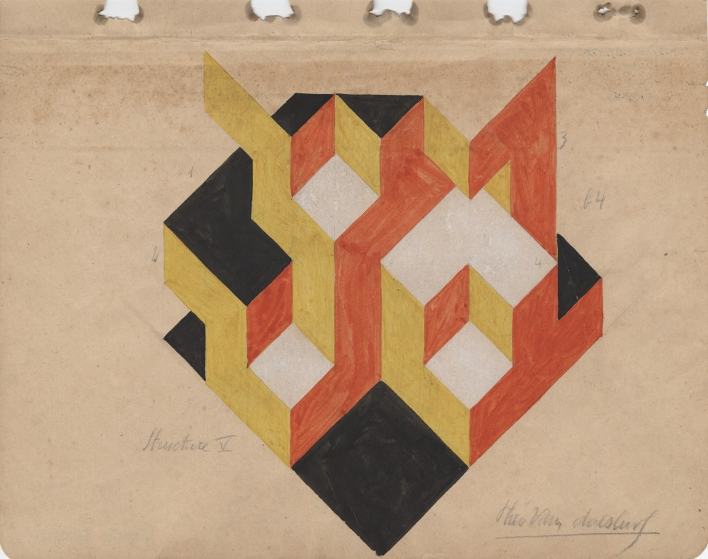 THEO VAN DOESBURG - Structure V - Gouache and pencil drawing on paper