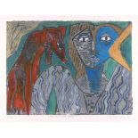 KARIMA MUYAES - Woman and Wolf - Carborundum plate with oil colors