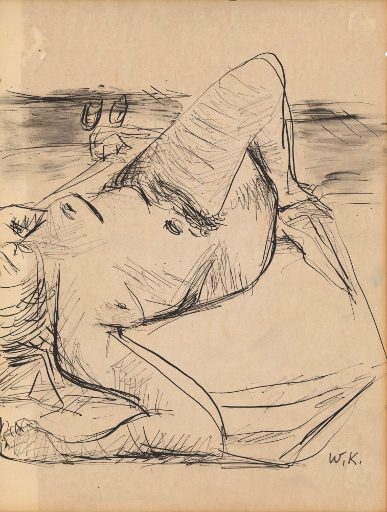 WILLEM DE KOONING - Female Nude - Pen and ink and wash drawing on paper