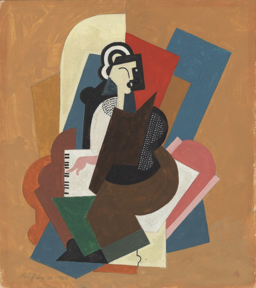 ALBERT GLEIZES - Dame au piano - Gouache and pencil drawing on paper