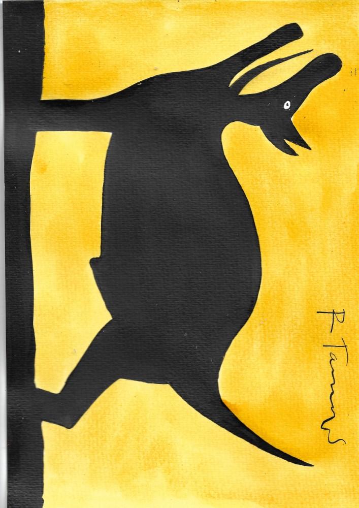 RUFINO TAMAYO - Perro aullando - Watercolor and gouache on paper