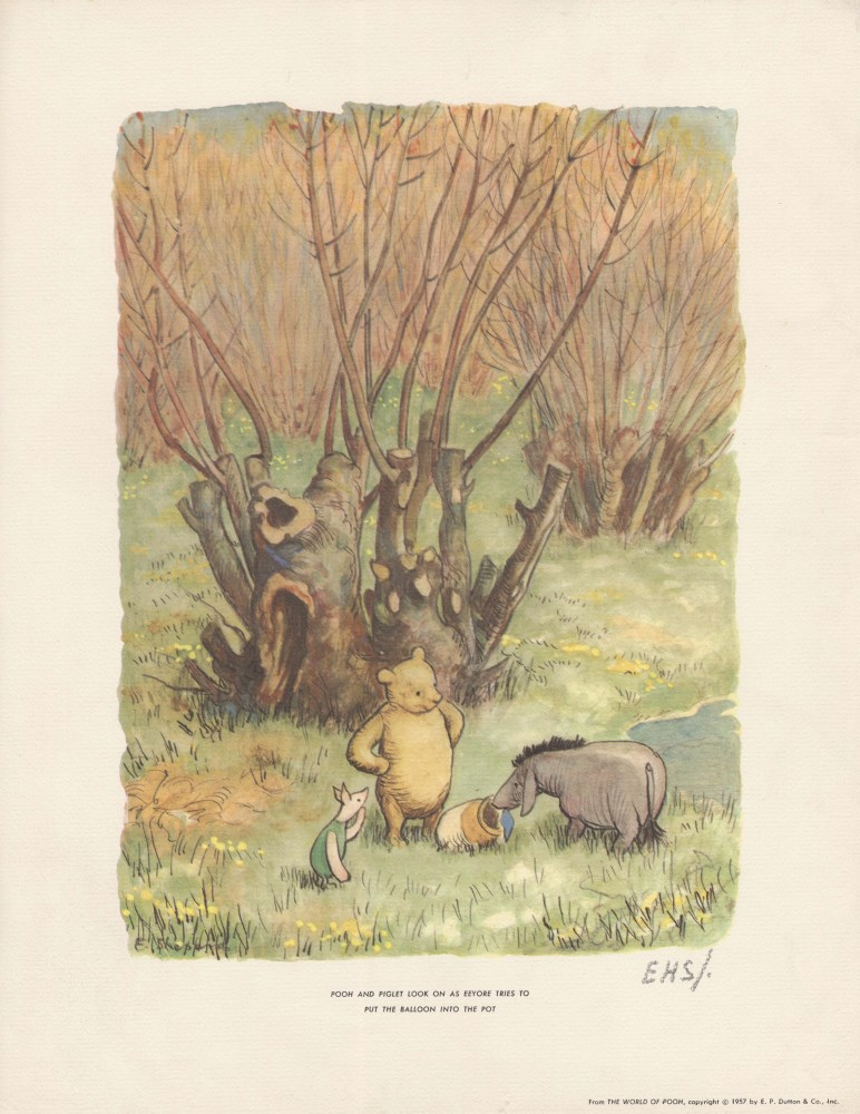 E(RNEST) H(OWARD) SHEPARD - Pooh and Piglet Look on … - Original color offset lithograph
