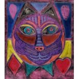 KARIMA MUYAES - Lucky Cat - Oil on illustration board with extensive cutouts