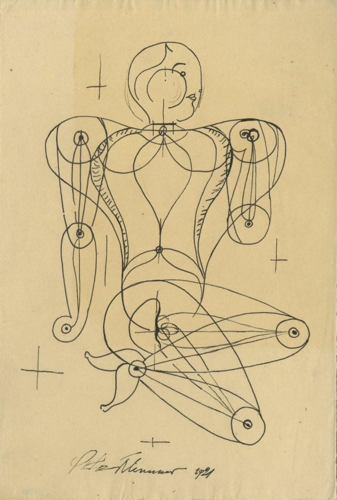 OSKAR SCHLEMMER - Figur - Pen and ink drawing