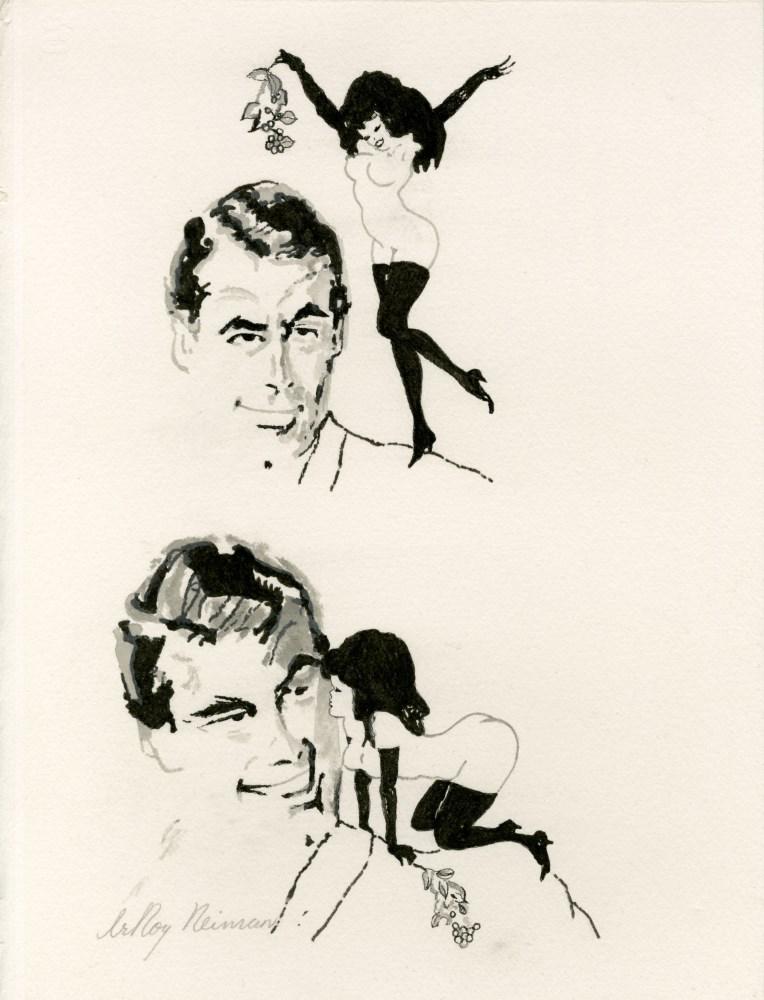 LEROY NEIMAN - Femlin Has Mistletoe - Ink with watercolor drawing on paper