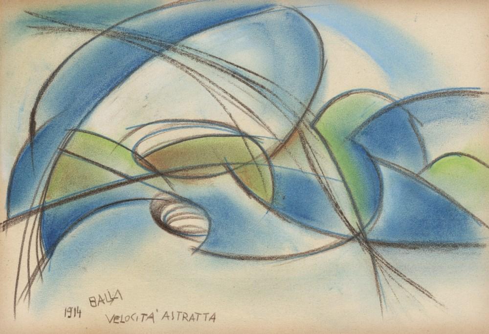GIACOMO BALLA - Velocita Astratta - Original color pastel drawing on paper