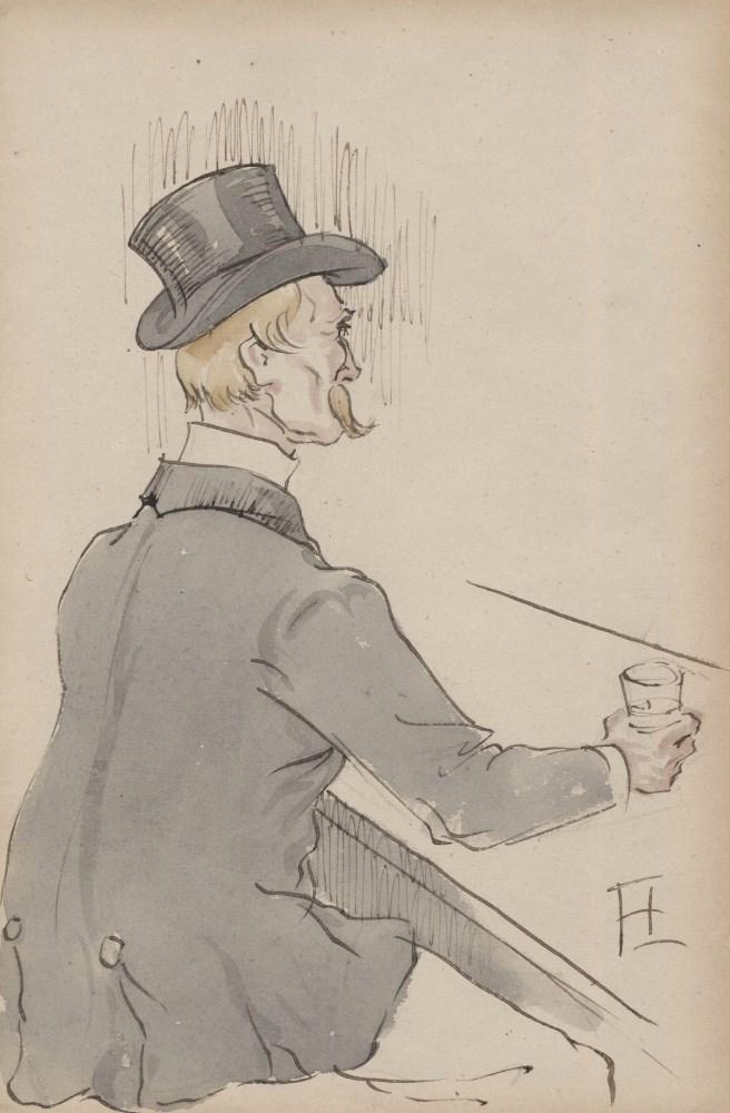 HENRI DE TOULOUSE-LAUTREC - Monsieur au bar - Watercolor and ink on paper