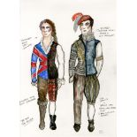 ESTELA WILLIAMS - Costume Design: 'The Rover II' - Watercolor, ink, and colored pencils on paper