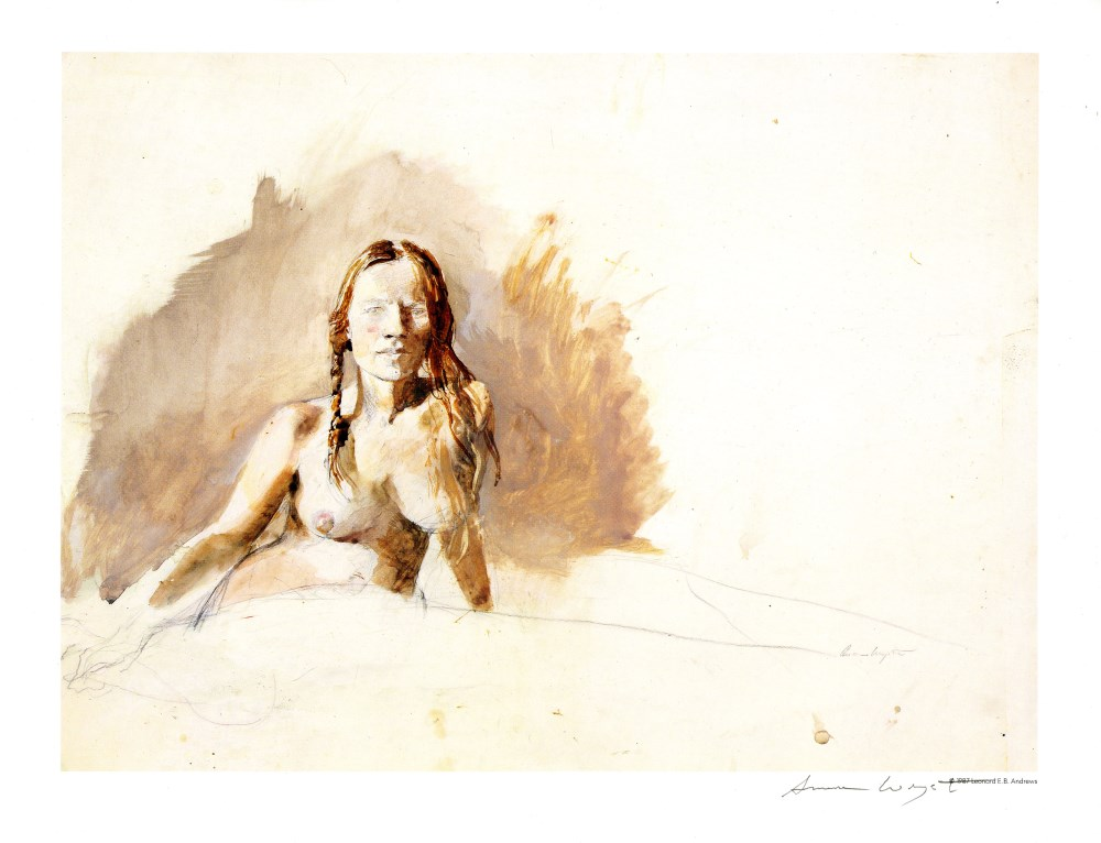 ANDREW WYETH - Helga, Nude - Color offset lithograph