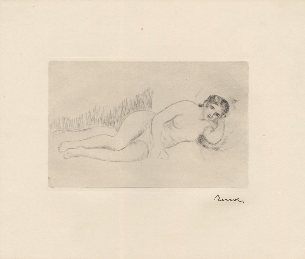 PIERRE-AUGUSTE RENOIR - Femme nue couchée (tournée à droite), 1re planche - Original drypoint