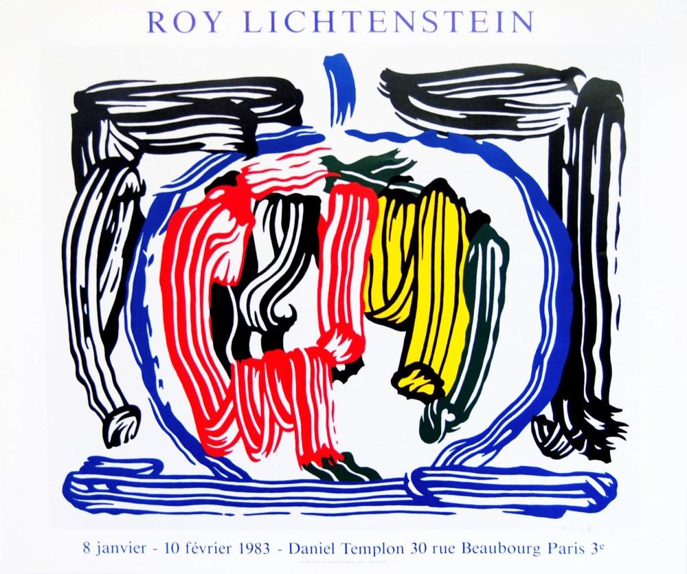 ROY LICHTENSTEIN - Brushstroke Still Life with Apple [variation #1] - Color offset lithograph