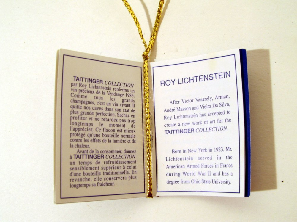 ROY LICHTENSTEIN - Taittinger Champagne Brut Bottle with box and tag - Screenprint on blue polyes... - Image 9 of 9