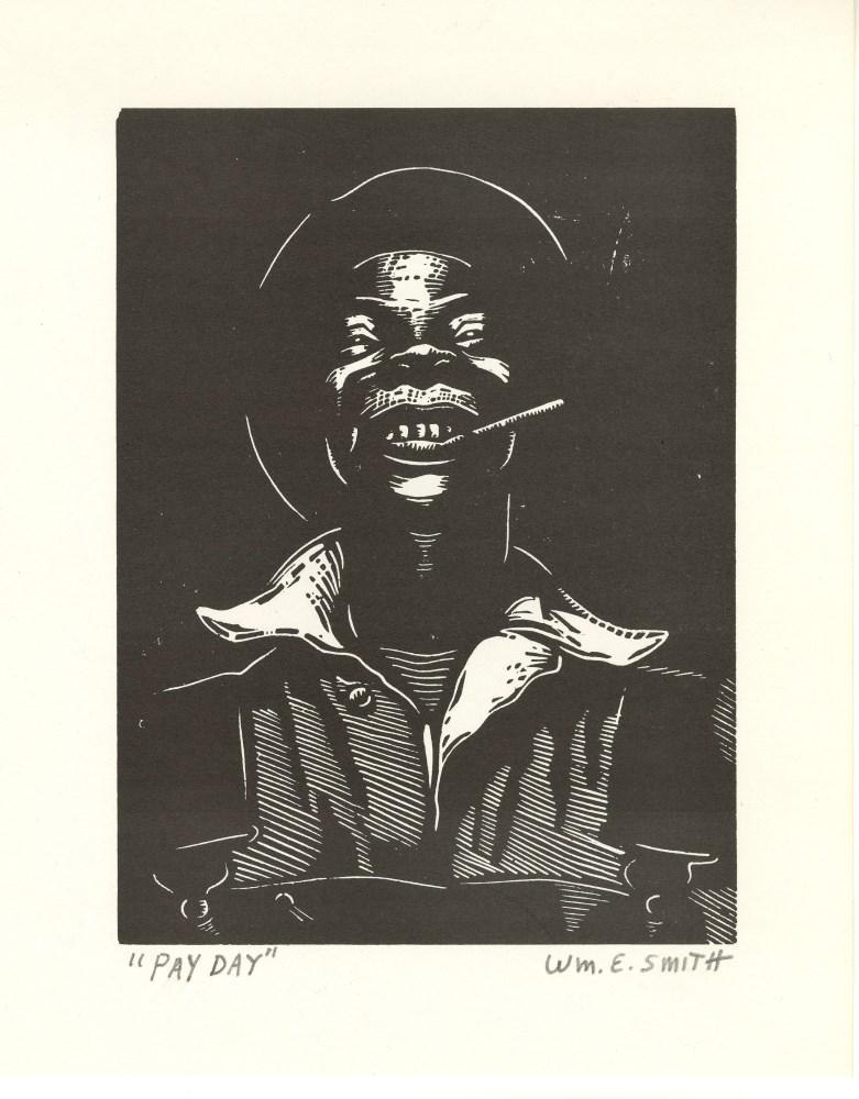WILLIAM E. SMITH - Pay Day - Original linocut
