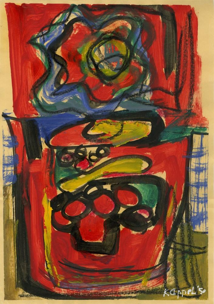 KAREL APPEL [d'apres] - Composition - Oil on paper