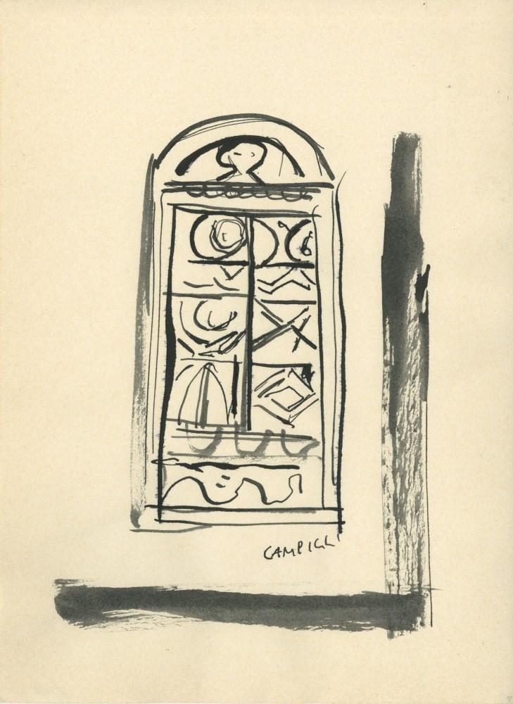 MASSIMO CAMPIGLI [d'apres] - Portone - Watercolor and gouache drawing
