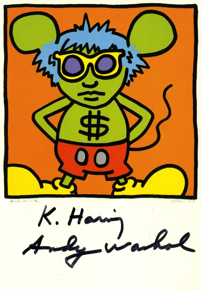 ANDY WARHOL & KEITH HARING - Andy Mouse I, Homage to Warhol - Color offset lithograph