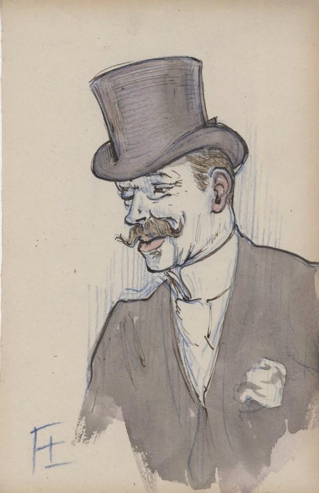 HENRI DE TOULOUSE-LAUTREC - Portrait d'un gentilhomme - Mixed media on paper