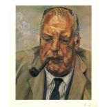 LUCIAN FREUD - Man Smoking - Color offset lithograph