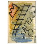 JEAN-MICHEL BASQUIAT [d'apres] - Untitled (Ladder) - Acrylic (?), oil pastel, and chalk on paper
