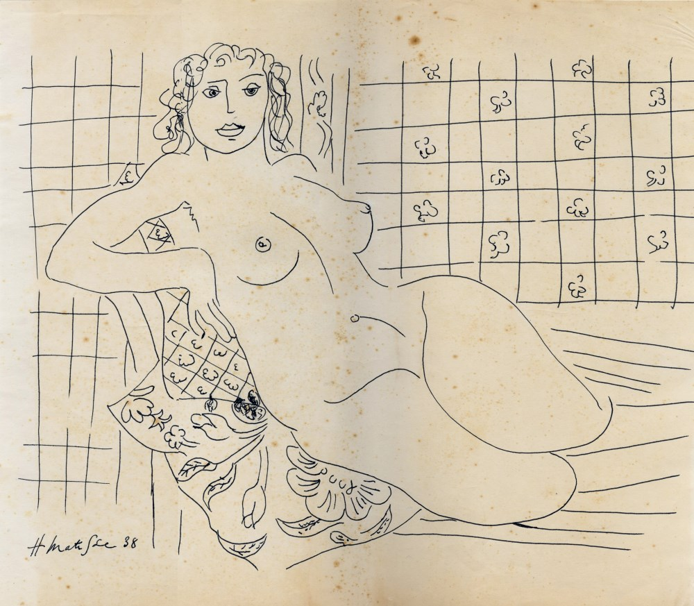 HENRI MATISSE [imputee] - Femme nue - Pen and ink drawing on paper