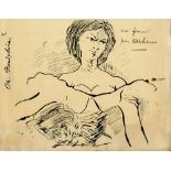 CHARLES BAUDELAIRE [imputee] - Study for 'Portrait de Jeanne Duval' - Original pen and ink drawing