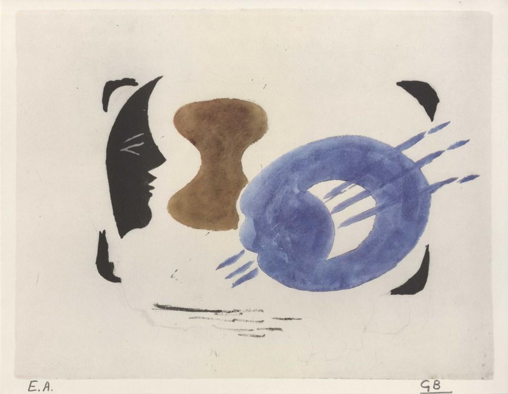 GEORGES BRAQUE - Profil et palette - Original color collotype