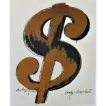 ANDY WARHOL [d'apres] - Dollar Sign $ [white background; brown symbol] - Color lithograph
