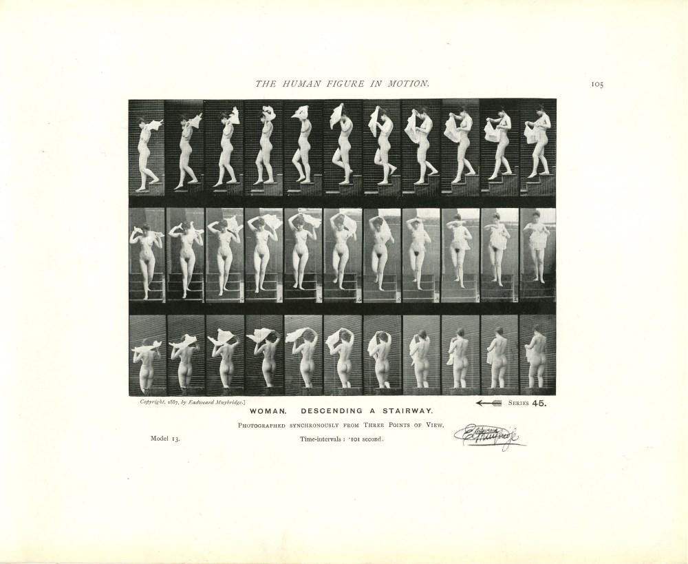 EADWEARD MUYBRIDGE - Woman: Descending a Stairway - Original photomezzotint & letterpress
