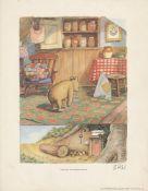 E(RNEST) H(OWARD) SHEPARD - Pooh Does His Stoutness Exercises - Original color offset lithograph
