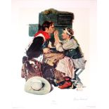 NORMAN ROCKWELL - The Texan - Original color collotype and lithograph
