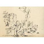 OSKAR KOKOSCHKA - Der Besuch - Original pen and ink drawing
